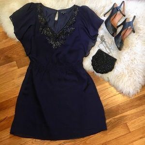 Navy blue cocktail dress with sequins